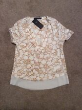 BNWT IVORY MIX M&S COLLECTION FLORAL PRINT V NECK SHORT SLEEVE T SHIRT SIZE 6