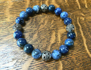Handmade Unisex 10mm Blue Sodalite Gemstone & .925 Silver Bali Bead Bracelet