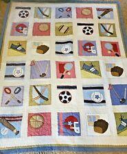 LRN Vintage Pottery Barn Kids Sports Themed Full/Queen Comforter Quilt Bedspread