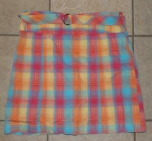 Bright Colorful Plaid Medium 8 / 10 Casual Wear Cotton Belted Skort WHITE STAG