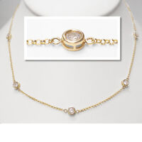 "By The Yard Diamond Bezel Rounds Station 18"" Necklace in 18k Yellow Gold Over"