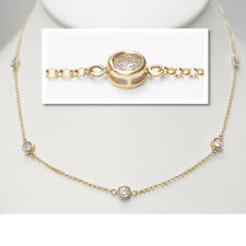 """By The Yard Diamond Bezel Rounds Station 18"""" Necklace in 18k Yellow Gold Over"""
