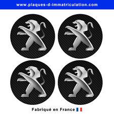 sticker Peugeot aspect carbone pour cache moyeu de jante (lot de 4)