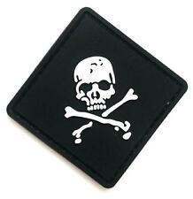 """CrossBones"" Logo Paintball Airsoft PVC Velcro Patch (Black / White)"