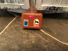 Vintage  Busy Barbie Ken Doll Brown Plastic Suitcase Carry Case w/ Stickers 1972