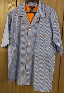 Polo Ralph Lauren Mens M Lounge-Wear Night-Shirt Pajama Top Button Front Blue
