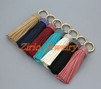 Handmade Leather Tassel Crystal Rhinestone Bag Purse Keyring Handbag Accessories