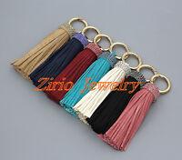 Handmade Leather Tassel Crystal Rhinestone Bag Purse Keyring Handbag Accessories