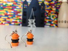 Handmade MonkiStuff Earrings Orange/Black made from LEGO® Bricks Halloween