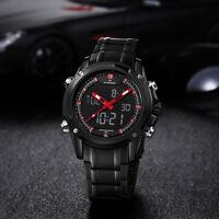 NAVIFORCE 9050Herrenuhr Edelstahl-Digitaluhr Quarz Armbanduhr Stoppuhr Sportuhr