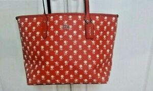 NWT COACH CROSSGRAIN LEATHER CITY ZIP TOTE F38161 BADLANDS CARMINE MSRP: $295
