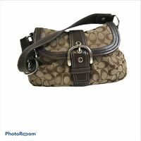COACH Signature Brown Pleated Buckle Flap Handbag F15203 Purse