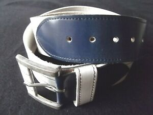 vtg Paris cowhide leather belt 40 L XL women men unisex wht navy blue baseball
