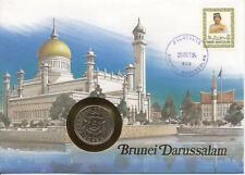 superbe enveloppe BRUNEI pièce monnaie 50 sen 1991 UNC NEW timbre