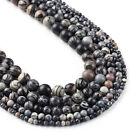 """Natural Black  Net  Beads 4 6 8 10 12mm Spider Web Jasper Beads 15"""" Full Strand"""