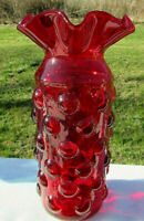 """Bischoff Glass Deep Ruby Red Hobnail Art Glass Vase 8.5""""H x 4.25W BEAUTIFUL"""