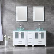 60'' Bathroom White Double Vanity Cabinet Clear Glass Sink Faucet Drain Mirror