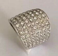 18ct White Gold Elegant Bling Ladies, 7 row, 91 Diamonds Pave set ring. Size 6.5