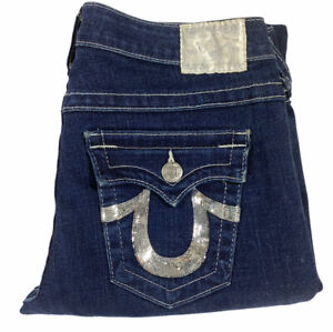 True Religion Blue Becky Womens Jeans Size 32 Stretch Cotton Low Rise Petite
