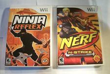 ☆ 2 Wii Games Lot ☆ Wii Ninja Reflex and Wii Nerf N-Strike ☆ FREE SHIPPING ☆