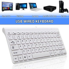 Mini Slim USB Wired Keyboard Qwerty UK Layout For Apple Mac PC Laptop Computer