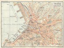 Carta geografica antica TRIESTE Pianta della città TCI 1920 Old antique map