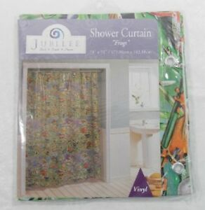 """Frogs Frogs and More Frogs Shower Curtain Vinyl 70"""" x 72"""" New in Package #2742"""