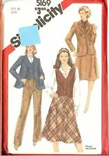 Vintage 80s  Simplicity Sewing Pattern 5169  Misses 4 Piece Suit  Size 16 B38