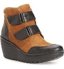 Fly London Yugo boots nib camel black sz 41 US 10M  Adjustable pull on wedge