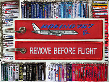 Keyring Boeing 757 RED Remove Before Flight tag label keychain for pilot
