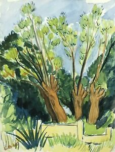 LOUIS BELLON (1908-1998) SIGNED FRENCH IMPRESSIONIST PAINTING - SUMMER TREES