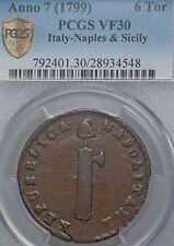 Italy Naples & Sicily Parthenopean Republic 6 Tornesi Anno 7 (1799) VF30 PCGS