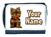 YORKSHIRE TERRIER YORKIE DOG PERSONALISED DENIM PURSE / MINI WALLET *NAMED GIFT*