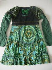 DESIGUAL robe fille 5/6 ans vert et noir manches longues occasion bon état