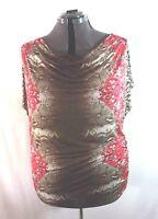 JM Collection Top Shirt Blouse Womens Plus Sz 2x Short Sleeve Print Multi-color