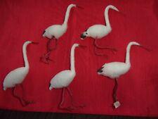 Lot Vintage Spun Cotton Stork Wood Beak Wire Legs Japan