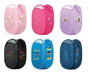 Childrens Pop Up Laundry Basket / Toy Basket / Room Tidy ~ Unicorn, Rocket, Cars