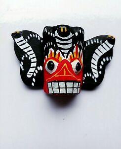 Sri Lanka Devils Mask Wall Art Traditional Wood Décor Magnetic Stick Souvenirs