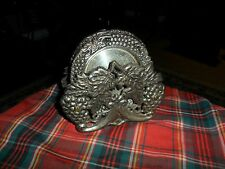 Vintage 5 DRINK COASTERS W/ Ornate Grapes & Leaves Heavy Silverplate & Stand