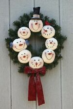 "20"" Snowman Wreath pattern #1707 by Bonnie B Buttons Winter cloth doll pattern"