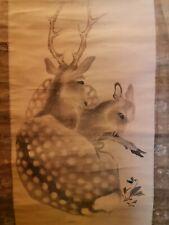 Cervo Giapponese Dipinto Appendino Scorrere Antico Vecchio Da Kakejiku d970