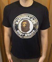 A BATHING APE BAPE Busy Works Black Camo Big Logo T-Shirt Tee Size- Medium
