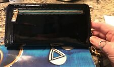 Silpada Patent Leather Zip Around Wallet New Black w/Teal trim w/dust cover
