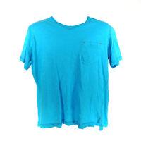 Robert Graham T-Shirt Blue Men's Large Cotton Short Sleeve Chest Pocket V-Neck