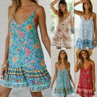 Women's Sling Boho Floral Print Dresses Ladies Summer Holiday Sexy Beach Dress