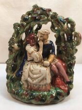 Vtg Pottery Art Secrets Couple Lovers BEAUTIFUL Statue Figurine Spaghetti Trim