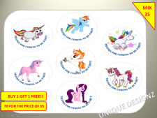 70 Unicorns Party Labels Stickers Birthday Goody sweet Cone Box Non Personalised