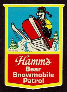 """HAMM'S BEER"" (1971) ""BEAR SNOWMOBILE PATROL"" Ice Cooler Sticker *3M SCOTCHLITE*"