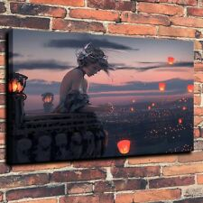 "Art Quality Canvas Print Oil Painting Lonely Girl Lanterns  A4136,16""x24"""