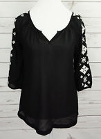 Old Navy Top Womens XS Black V-Neck 3/4 Sleeve Sheer Dressy Blouse Embroidered